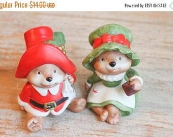 Mr and Mrs Clause Bears,  Homco Christmas, Vintage Christmas Bears,  Porcelain Figurine, Christmas Decor, Xmas Decoration, Stocking Stuffer