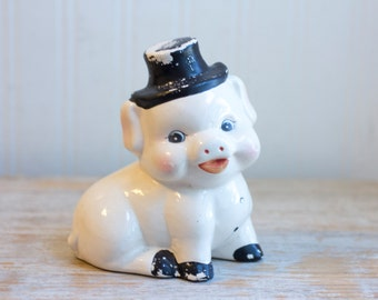 Vintage Piggy Bank, White Pig with Top Hat, Kitsch Piggie Bank,