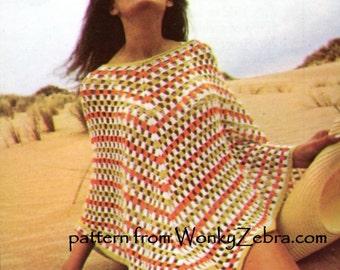 Crochet Vintage Granny Square Poncho Pattern PDF 873 from WonkyZebra
