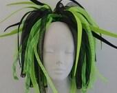 Cyberlox Neon Lime Green and Black Medium length Pigtail Falls Cybergoth Cyberpunk Neon Cyber Goth Punk Dreads Synth Wig Tie In Cyberpop