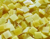 """100 1/2"""" Dark Yellow and White Stained Glass Mosaic Tiles"""