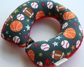Child Travel Neck Pillow - Play Ball w/ Red Minky