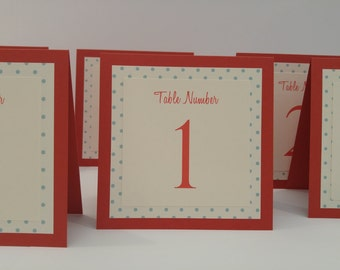 Wedding Table Number Tent Style Cute Polka Dot Design in Three Layers Choose Your Colors From My Color Chart