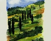 "MADE To Order ART Painting Original Watercolor Italian Landscape ""TUSCANY"" Italy Italian Landscape & Scenic"