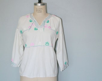 Vintage Mexican Cotton Gauze Boho Blouse
