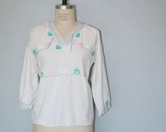 Vintage Mexican Cotton Gauze Boho Blouse