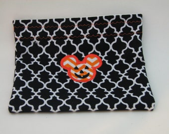 Mickey Mouse Halloween Snack Bag-Applique Pouch-Disney Bag-Orange N Black-READY TO SHIP