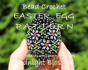 Easter Egg Pattern - Midnight Blossom - Crochet PDF File TUTORIAL - Vol.24