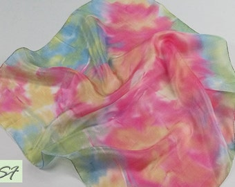 Small Neck Scarf, Silk Scarf square, Hand Painted Abstract, Batik, Gift for Her, Pink Green, Woman Neckerchief Scarf, Gift for Wife