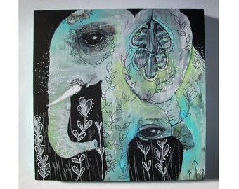 Original Elephant painting mixed media art painting on wood canvas 8x8 inches - Roots and seeds