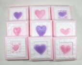 9 Valentine Soaps - Valentines Day, Valentines Day Party, School Valentines, party favor, heart soaps, quilt soaps, stamp soaps