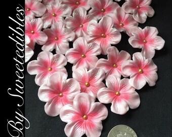 Gumpaste Edilbe Cake Decorations Light Pink Gum Paste Blossoms 25 piece