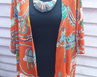 Gorgeous orange patterned kimono