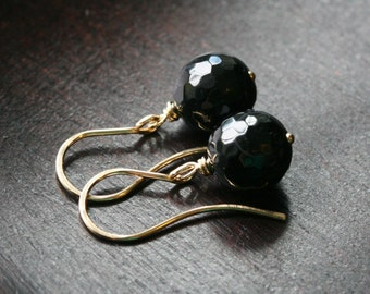 Round black onyx earrings, 14k gold filled, wire wrapped, earrings, black 10mm onyx, drop, simple, classic, Mimi Michele Jewelry
