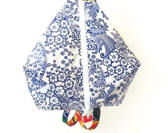 Backpack in Oilcloth Dual Closure - Lacey Blue