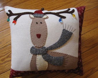 Whimsical Reindeer Christmas Pillow with Christmas Lights Hand Made