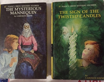 Nancy Drew Vintage Carolyn Keene Book Mysterious Mannequin, Sign of the Twisted Candles 20 chapt each your CHOICE