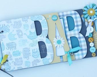 Baby scrapbook album, Baby shower gift, Premade scrapbook for baby boy- BB31