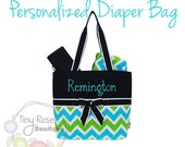 Personalized Diaper Bag -Turquoise, Lime Chevron Monogrammed Baby Tote, Changing Pad, Mommy Bag