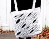 Bag with zippers. oversized bag. inexpensive gift. gifts for her. screen printed bag. fun accessory. black and white.