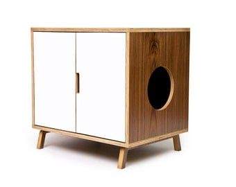 "Mid Century Modern Cat Litter Box Furniture | LARGE Cat Litter Box Cover | Pet House | Walnut Side Table | ""Standard Cabinet +Colored Doors"""