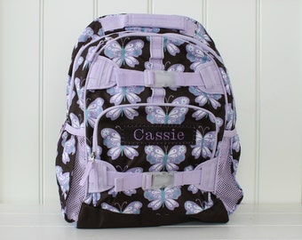 Large Girls Backpack With Monogram (Large Size) -- Brown/Lavender Butterfly