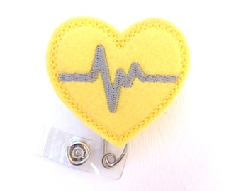 Retractable badge holder - nurse badge holder - Heartbeat EKG yellow with grey - Nurse badge reel medical badge reel