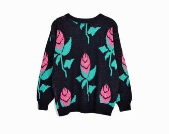 february sweater sale!! Vintage 80s Metallic Rose Sweater / Tacky Sweater