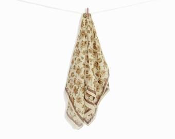 Vintage 60s Brown Floral Handkerchief Scarf