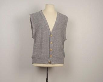heather gray 80s vintage Button Up Sweater Vest grey Knit mens dapper vest medium 44 chest