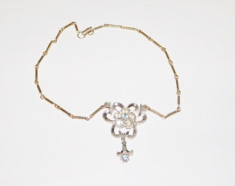 Vintage rhinestone flower choker necklace something blue, something old