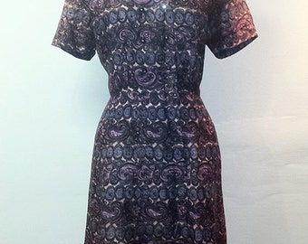SUMMER HEAT SALE Vintage 1950s Wiggle Dress - Mixed Purples and Pinks