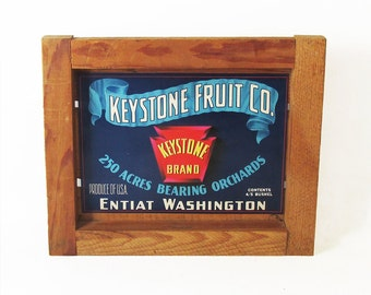 Mid Century Fruit Crate Front Panel - Apple Label - Washington State