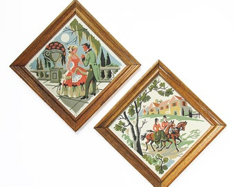 """A Pair of Vintage Paint-by-Number Paintings """"Courting Antebellum South Couple"""""""