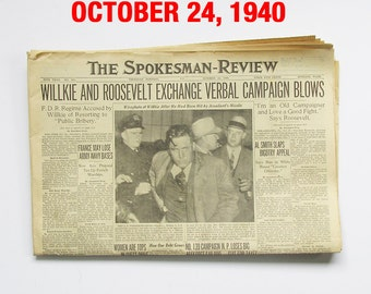 "October 1940 Newspaper - Spokane, WA Spokesman-Review ""World War Two News"""