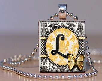 Letter L Monogram Pendant n Yellow and Black Damask made from an Upcycled Scrabble Tile  (170)