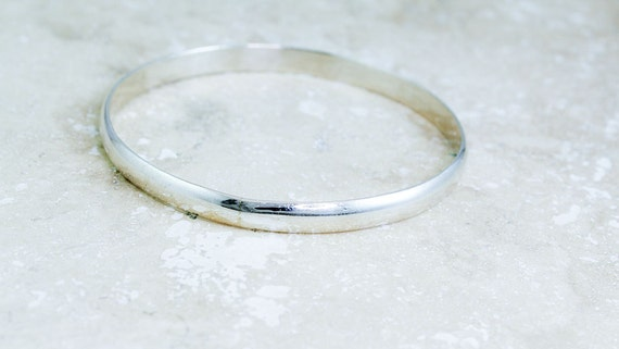 Sterling Silver Bangle Bracelet, Simple, Domed and Beautiful