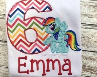 pretty rainbow pony inspired birthday shirt