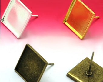 100 Square Earrings- Brass Antique Bronzed/ Silver/ Gold Plated Tone Earring W/ 12mm Square Bezel Setting Post Earring Base