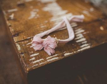Vintage pink bow tie back Headband