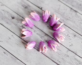 Handmade polymer clay beads, Purple tulip beads, Flower beads, small flower beads, focal beads, statement beads, purple and pink 10 pcs