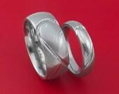 Matching Damascus Steel Heart Carved  Ring Set Wedding Bands Genuine Craftsmanship
