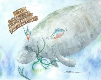 Original watercolor Crystal River Dining sea cow Florida 9 x 12 manatee bowman seacow mermaid