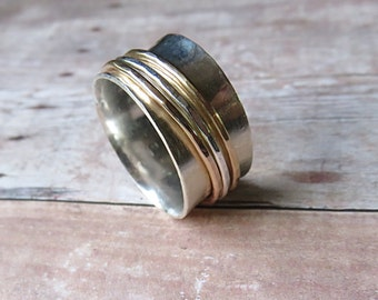 Fidget Ring - Wedding Spinner Ring - Worry Ring - Sterling Silver Spinner Ring - Stacking Ring - Worry Ring - Eternity Ring
