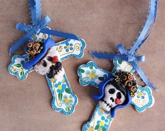 Diego and Frida cross wedding ornaments or Christmas ornaments