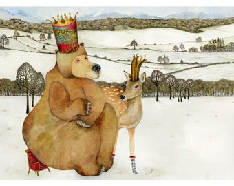 Bear and Deer illustration giclee print 8x11 King Bruin and Queen Silverfoot print