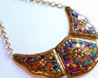 NLO1699 Mosaic Wings Inlaid Brass Bib Statement Necklace