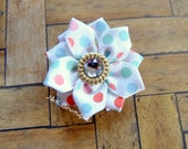 Mini size ribbon flower....Polka dot...colors gold, white, coral, aqua...hairbow