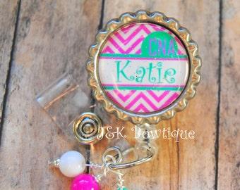 CUSTOM Name Badge reel - Chevron - pink and aqua