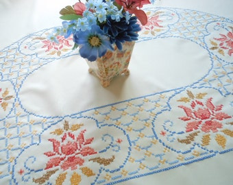 Unused Hand Embroidered Oval Vintage Tablecloth And Napkins